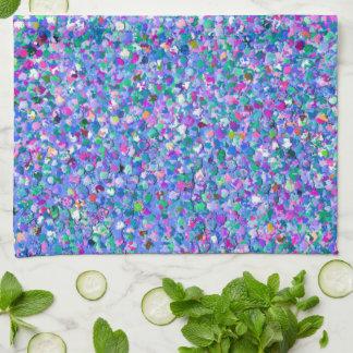 Multicolor Mosaic Modern Grit Glitter Tea Towel