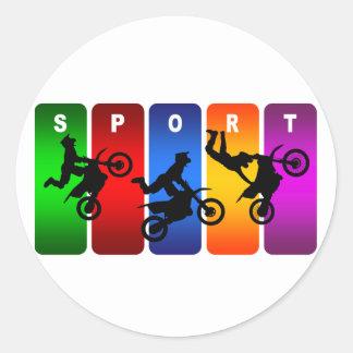 Multicolor Motocross Emblem Classic Round Sticker