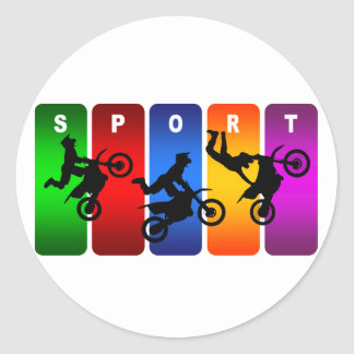 Multicolor Motocross Emblem Round Sticker