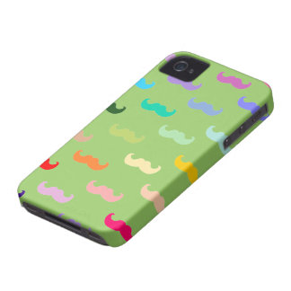 Multicolor Mustache pattern on green iPhone 4 Case
