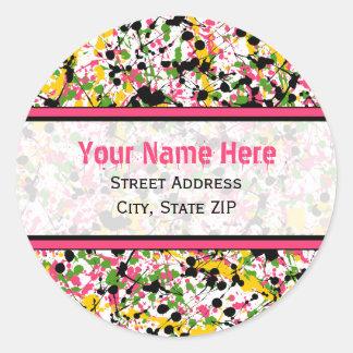 Multicolor Paint Splatter Address Labels Round Sticker