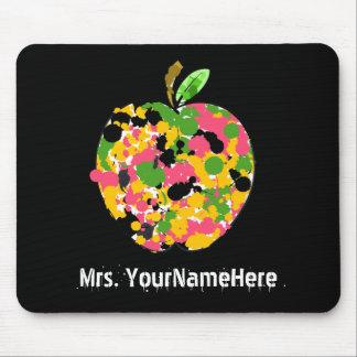 Multicolor Paint Splatter Apple Teacher Mouse Pad