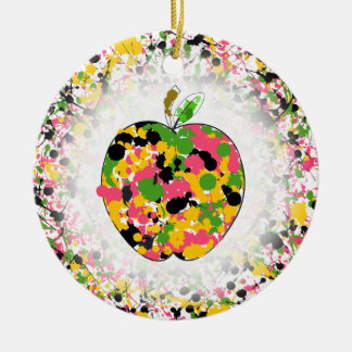 Multicolor Paint Splatter Apple Teacher Round Ceramic Decoration