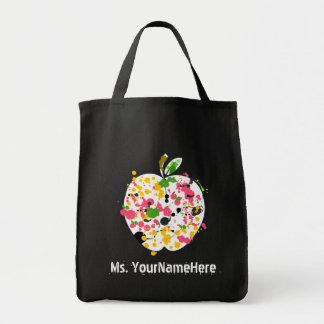 Multicolor Paint Splatter Apple Teacher Tote Bag
