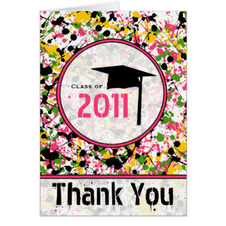 Multicolor Paint Splatter Graduation Thank You '11 Greeting Card