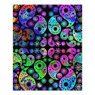 Multicolor Paisley Design. Personalized Flyer