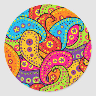 Multicolor Paisley Round Sticker