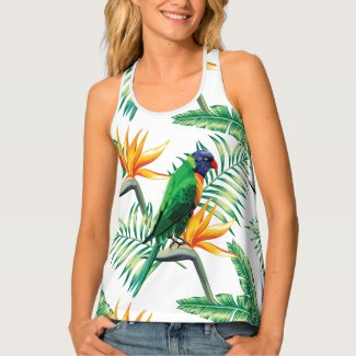 Multicolor Parrot And Orange Flowers Tank Top