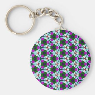 Multicolor pattern Blue & Pink Basic Round Button Key Ring