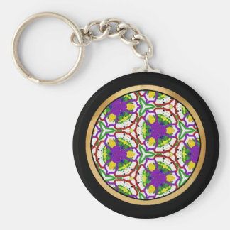 Multicolor pattern Gift Item Basic Round Button Key Ring