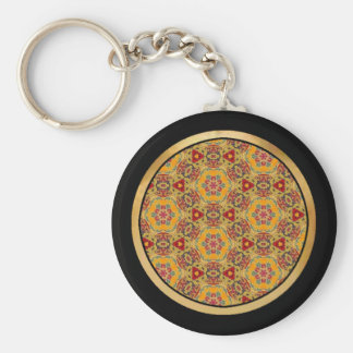 Multicolor pattern basic round button key ring