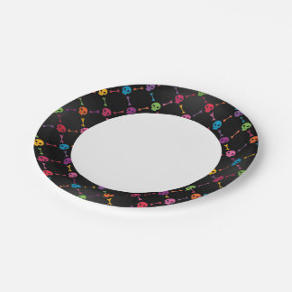 Multicolor pattern with skulls paper plate
