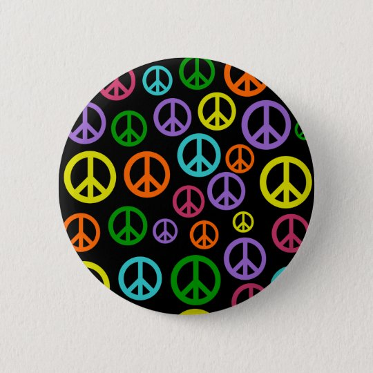 Multicolor Peace Signs 6 Cm Round Badge
