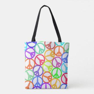 Multicolor Peace Signs Tote Bag
