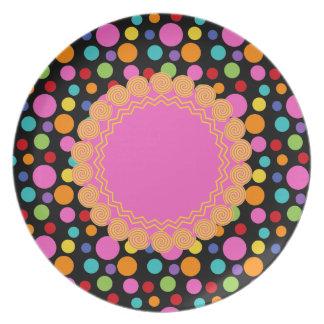 Multicolor Polka Dots Melamine Plate