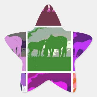 Multicolor Pop Art Horses Star Sticker