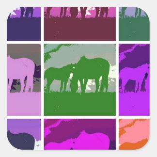 Multicolor Pop Art Horses Square Sticker