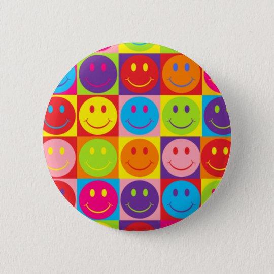 Multicolor Pop Smileys 6 Cm Round Badge