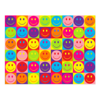 Multicolor Pop Smileys Postcard
