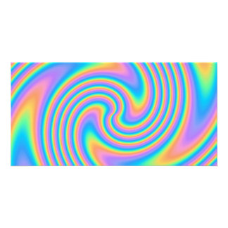 Multicolor Psychedelic Twist Swirl Pattern. Customized Photo Card