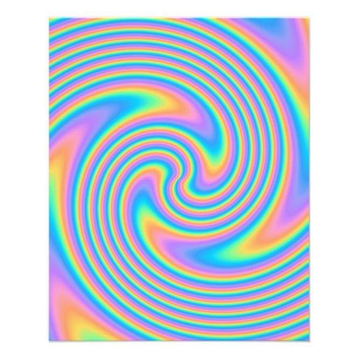 Multicolor Psychedelic Twist Swirl Pattern. Custom Flyer
