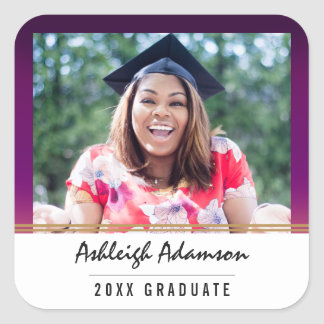 Multicolor Purple Yellow Ombre | Graduation Party Square Sticker
