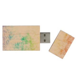 Multicolor Rainbow Clouds Customize or Stay Cloudy Wood USB 3.0 Flash Drive