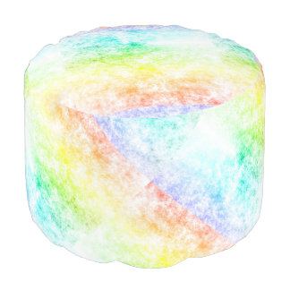 Multicolor Rainbow Clouds Customize or Stay Cloudy Round Pouf