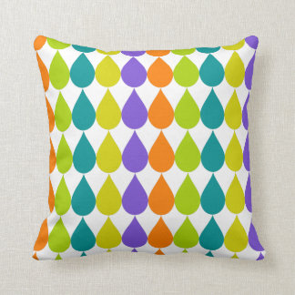 Multicolor Raindrops3 Graphic Throw Pillow