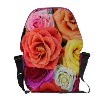 Multicolor Roses Pattern Design-Warm Tones Messenger Bags