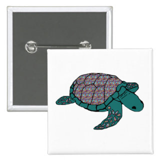 Multicolor shell sea turtle button