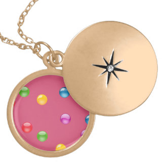 Multicolor Shiny Polkadot Confetti DIY Background Round Locket Necklace