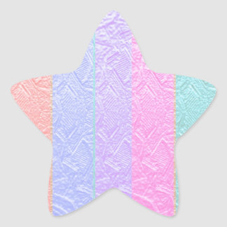 MultiColor Silken Engraved Look Patterns Star Sticker