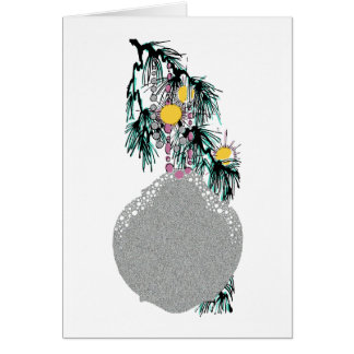 Multicolor Silver Christmas Tree Doily Ornament Card