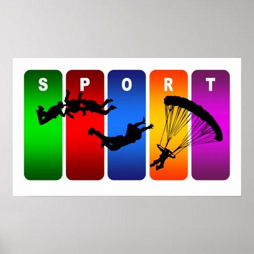 Multicolor Skydiving Emblem Poster