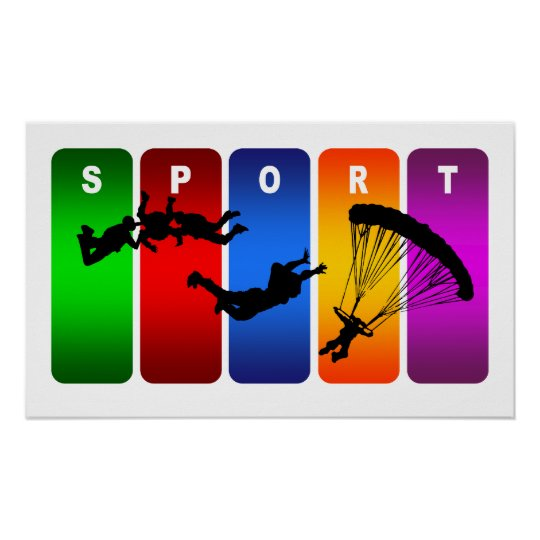 Multicolor Skydiving Emblem Poster