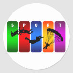 Multicolor Skydiving Emblem Round Stickers