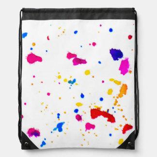 Multicolor Splatter Abstract Print Drawstring Bag
