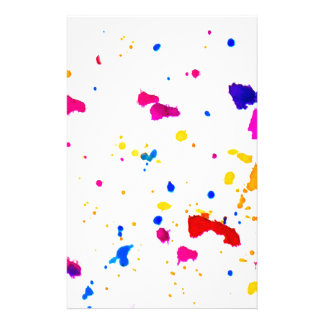 Multicolor Splatter Abstract Print Stationery Paper