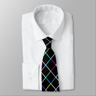 Multicolor Square Lined Pattern Tie