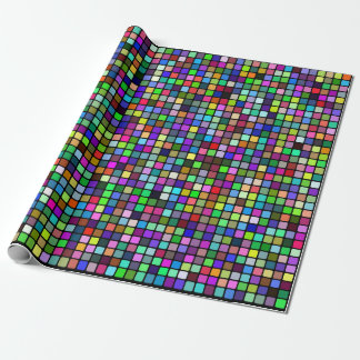 Multicolor Square Tiles Pattern (Black Background) Wrapping Paper