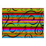 Multicolor Stripe Flourish Greeting Card