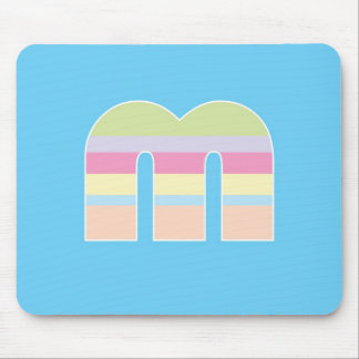 Multicolor Striped Monogram - Letter M Mouse Pad