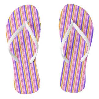 Multicolor Striped Pattern Flip Flops
