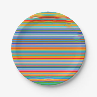 Multicolor Striped Pattern Paper Plate