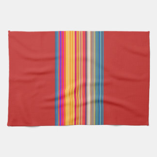 Multicolor Striped/Red Pattern Tea Towel