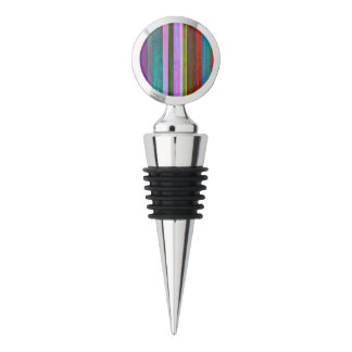 Multicolor stripes on chrome wine stopper