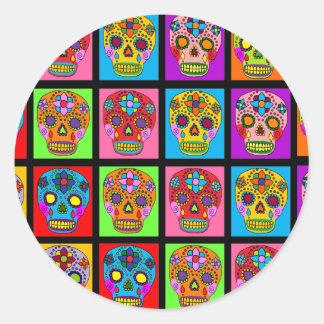 Multicolor Sugar Skull Squares Classic Round Sticker