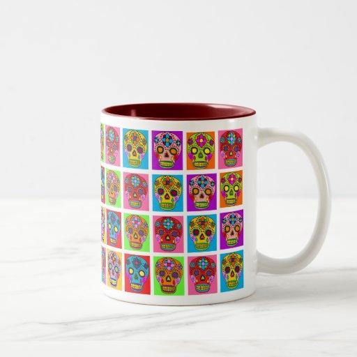 Multicolor Sugar Skull Squares Mugs