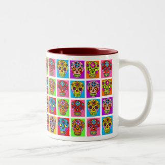 Multicolor Sugar Skull Squares Two-Tone Coffee Mug